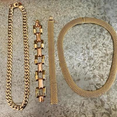 Gold chains and necklaces