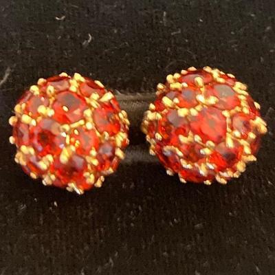 14k Gold and garnet ball earrings