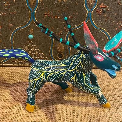 Oaxacan wood carved artist painted donkey by artist Martin Tilcajete