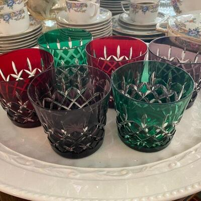 Czech cut to clear crystal goblets glasses