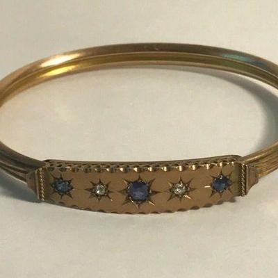 https://www.ebay.com/itm/124334439259	WL122 GOLD BRACELET STAMPED 901 WITH DIAMONDS AND SAPPHIRES 	buy-It-Now	 $499.99