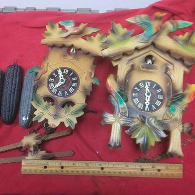 https://www.ebay.com/itm/114403173853	LX3005 PAIR OF VINTAGE GERMAN  WOODEN COO COO CLOCKS FOR REPAIR OR PARTS	Auction Starts 09/16/2020...