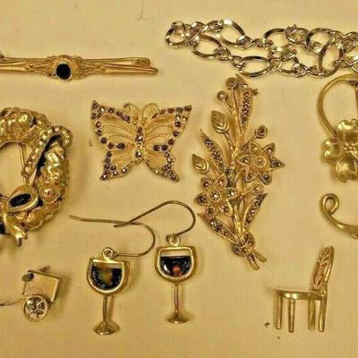 https://www.ebay.com/itm/114329779939	WL3026 10 PIECE LOT OF USED VINTAGE STERLING SILVER JEWELRY	$60 	Buy-It_Now