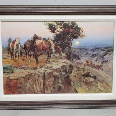204	  Western Painting By C.M. Russell Painting Measures Approx: 23.5