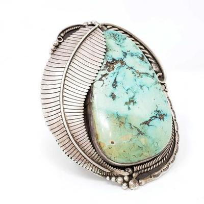 2000	  JM Large Turquoise Cuff Bracelet, 440.6g Weighs Approx 440.6g Stone Measures 4