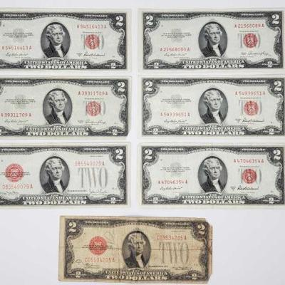 2711	  7 Red Seal Two Dollars Bills Includes Series Of 1928 G, 1928 D, 4 1953 A, And 2 1953