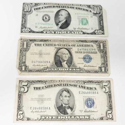 2710	  Blue Seal 5 Dollar Bill, Blue Seal 1 Dollar Bill, And 10 Dollar Bill 5 Dollar- 1953 A 1 Dollar- 1957 10 Dollar- 1950 B
