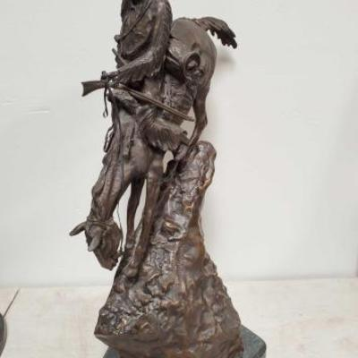 214	  Mountain Man Bronze Sculpture By Frederic Remington Measures Approx: 12
