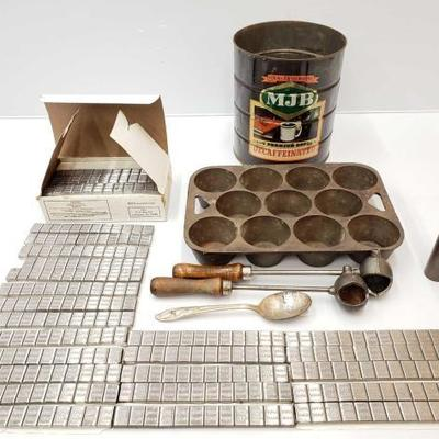 1110: Lead Bars, MJB Coffee Tin, Muffin Baking Tin and Ladles .