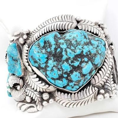 2002	  Sterling Silver Native American Turquoise Cuff Bracelet- 149.8g Weighs Approx 149.8g Stamped LC Navajo Includes 6 genuine...