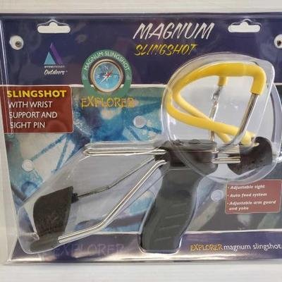 7041	  Explorer Magnum Slingshot Adjustable Sight, Auto Feed System, Adjustable Arm Guard And Yoke