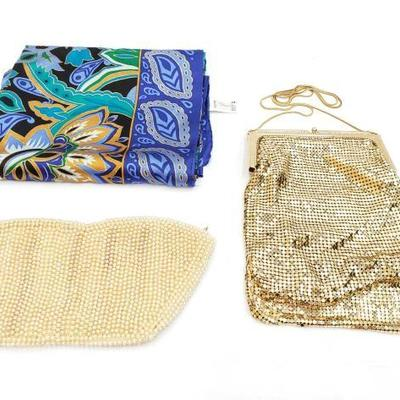2836	  2 Vintage Clutches And Silk Scarf 2 Vintage Clutches And Silk Scarf