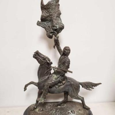 212	  Buffalo Signal By Frederic Remington Bronze Sculpture Measures Approx: 21