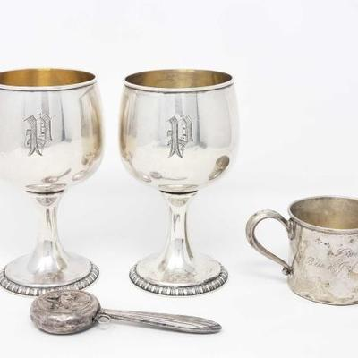 2762	  2 Sterling Silver Goblets, Cup, And Baby Rattle, 414.3g Weighs Approx 414.3g