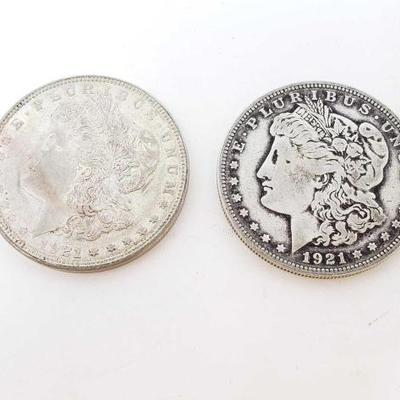 2558	  2 1921 Morgan Silver Dollars Philadelphia Mint