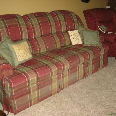 Plaid recliner sofa   BUY IT NOW $ 185.00