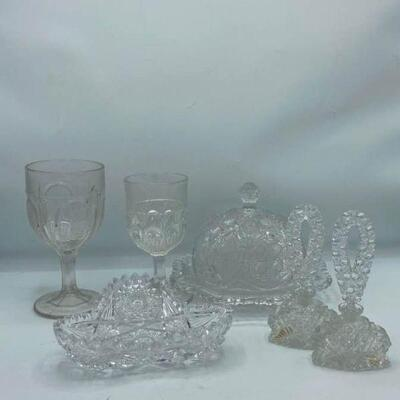 Textured Glass Containers & Tray