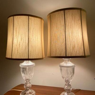 Vintage Glass Side Table Lamps