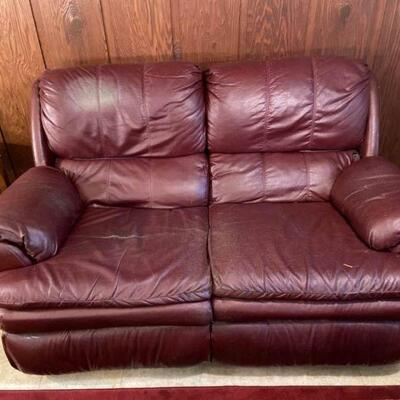 Red Pleather Reclining Loveseat