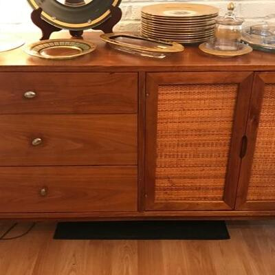 Mid century sideboard with woven panels $495 52 X 17 1/2 X 29