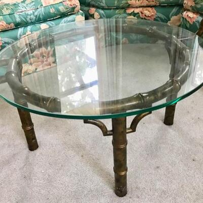 Faux bamboo and glass coffee table $225 35 X 30 X 18