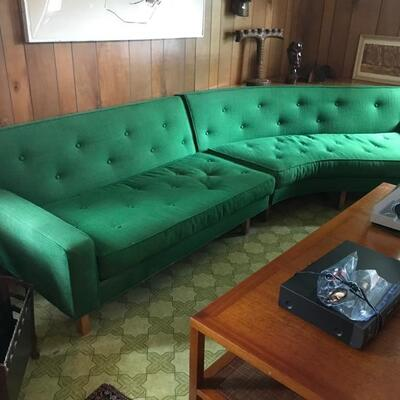 Mid-century 3 piece sofa including corner table behind the sofa on the right $795 189 X 33 X 29