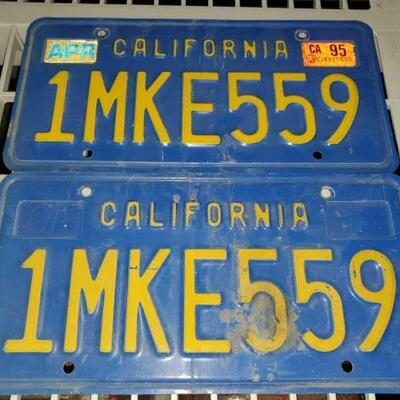 11064:  Pair of California Blue and Yellow License Plates 2 California Blue and Yellow License Plates