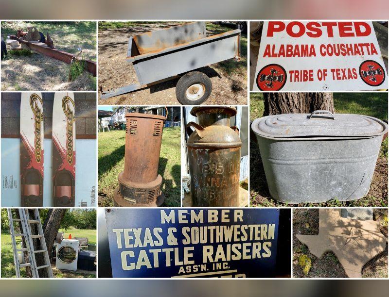 Signage, Galvanized Bins, Dairy Jug, Heater, Trailer
