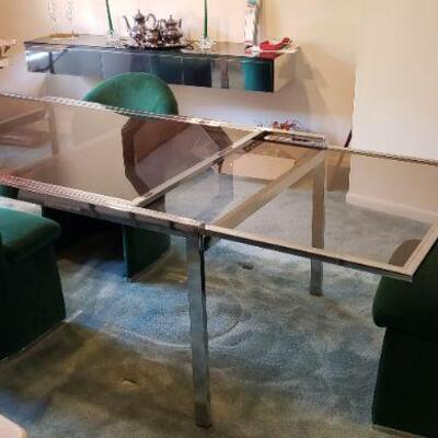 Mid-Century Modern Milo Baughman Chrome Extendable Dining Table