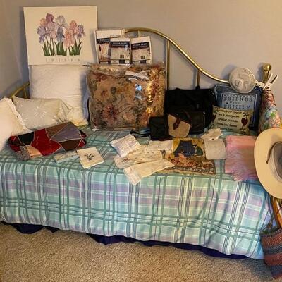 Brass Bed, Linens, Pillows