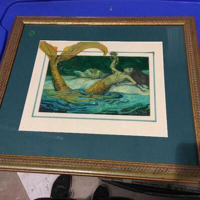 https://www.ebay.com/itm/124368509158LAR0050 Barbara Yochum Framed art, blue trim with a blue green mermaid and lily pads  93 Pickup...