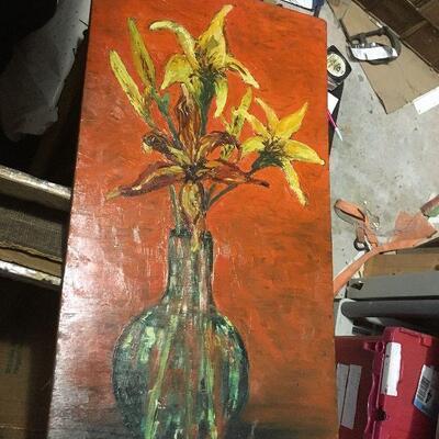https://www.ebay.com/itm/114448766505LAR0038 Still Life Oil on Board Yellow Flowers in Vase Pickup Only ( 11.75