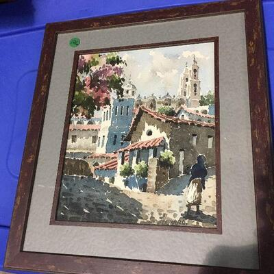 https://www.ebay.com/itm/114448984658LAR0056 Navarro - Village Scene Watercolor Framed Pickup Only ( 15