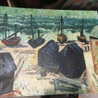 https://www.ebay.com/itm/124368330328LAR0036  Beach Shore with 4 Boats and house Oil On Board Pickup Only ( 20
