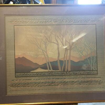 https://www.ebay.com/itm/114447510624LAR0022 Cooper Smith: Pink and Blue Trees and mountains with Purple Surrounding Metal Framed...