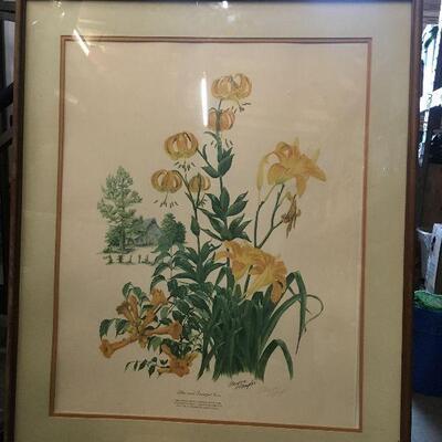 https://www.ebay.com/itm/124367487949LAR0023 Maryrose Wampler Plate Print of Lilies and Trumpet Vine, 23/5000 Framed Wood (29