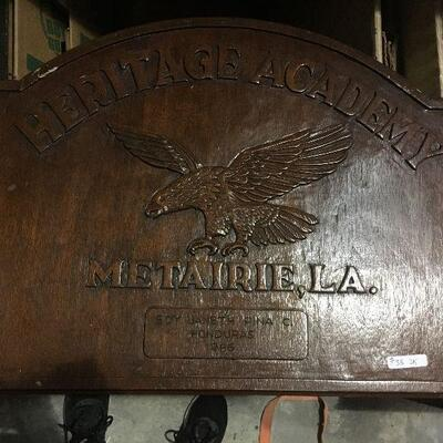 https://www.ebay.com/itm/114448758221LAR0035 Heritage Academy Wooden Plaque / Sign Pickup Only ( 23.75