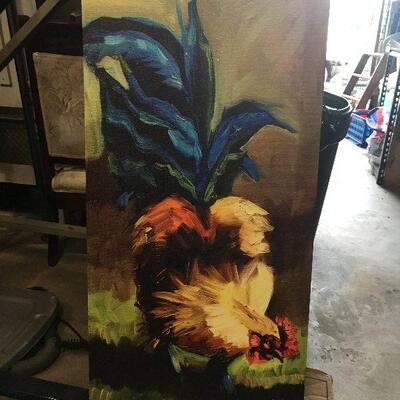LAR0021https://www.ebay.com/itm/114447508828LAR0021 Rooster with Blue tail in Grass Diane Whitehead Giclee on Canvas  (14