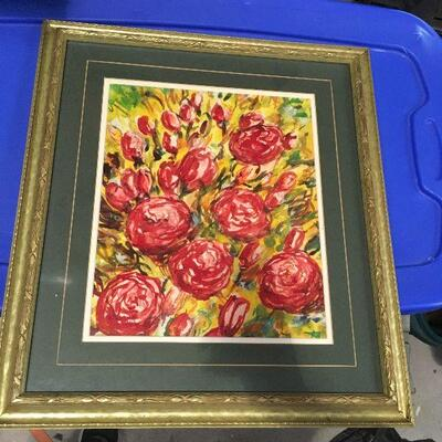 https://www.ebay.com/itm/124368340627LAR0043 Watercolor Red Flowers with Mainly Yellow Background Framed Pickup Only ( 19.25