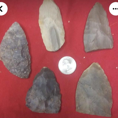 LAR9006 Antique American Indian Spearheads and Scrapper $15 each and up