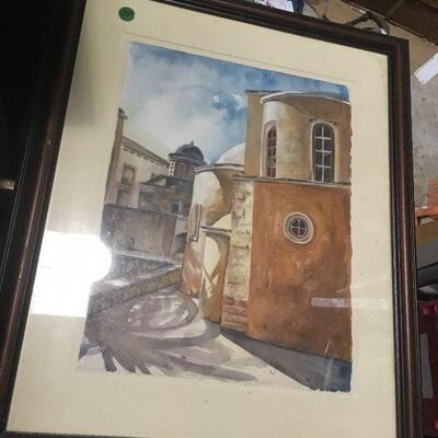 https://www.ebay.com/itm/124368336157LAR0039 Water Color villa Circled By Buildings Framed Pickup Only ( 18.75