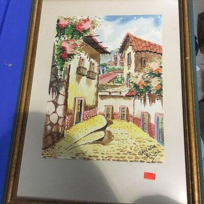 https://www.ebay.com/itm/124368344333LAR0045 Carrabin Village Watercolor Framed Elias Pickup Only ( 14.5