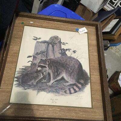 https://www.ebay.com/itm/114448770886LAR0042 Three Raccoons Morning Walk Plate 3 Bill Rice Framed Pickup Only ( 29
