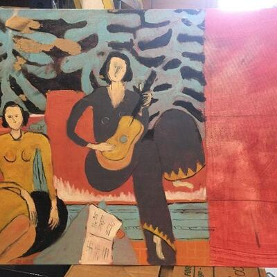 https://www.ebay.com/itm/114447510622LAR0027 Canvas Painting, Two Women one Playing Music, Leaves in background Pickup Only (24
