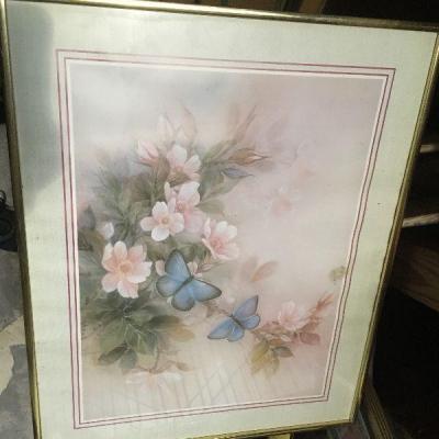 https://www.ebay.com/itm/124368336750LAR0040 Blue Butterflies and Pink Flowers Framed Print Pickup Only ( 20.5
