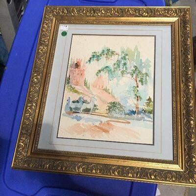https://www.ebay.com/itm/114448773713LAR0044 Watercolor Castle Framed and Matted Pickup Only ( 19
