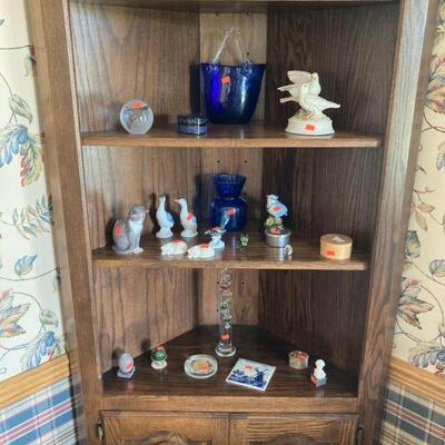 Corner cupboard and contents.