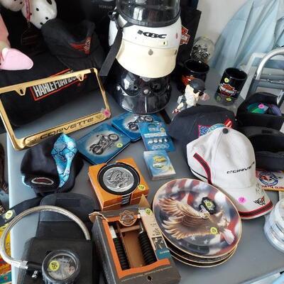 Harley Davidson and Corvette items