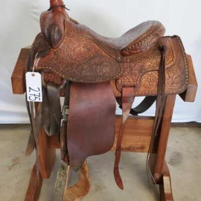 275  Cowboy Rope Saddle with Buck Stitching 15