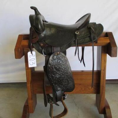 203  Vintage Cowboy Saddle Vintage 15 1/2